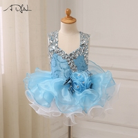 ADLN Baby Party Dresses Beaded Stones Cap Sleeve Ruffled Organza Pageant Girl Dresses Cupcake Gowns