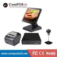 Дешевый pos терминал 15 дюймов кассовый аппарат кассовых систем с 400 мм денежный ящик 80 мм Термальность принтер для ресторан POS