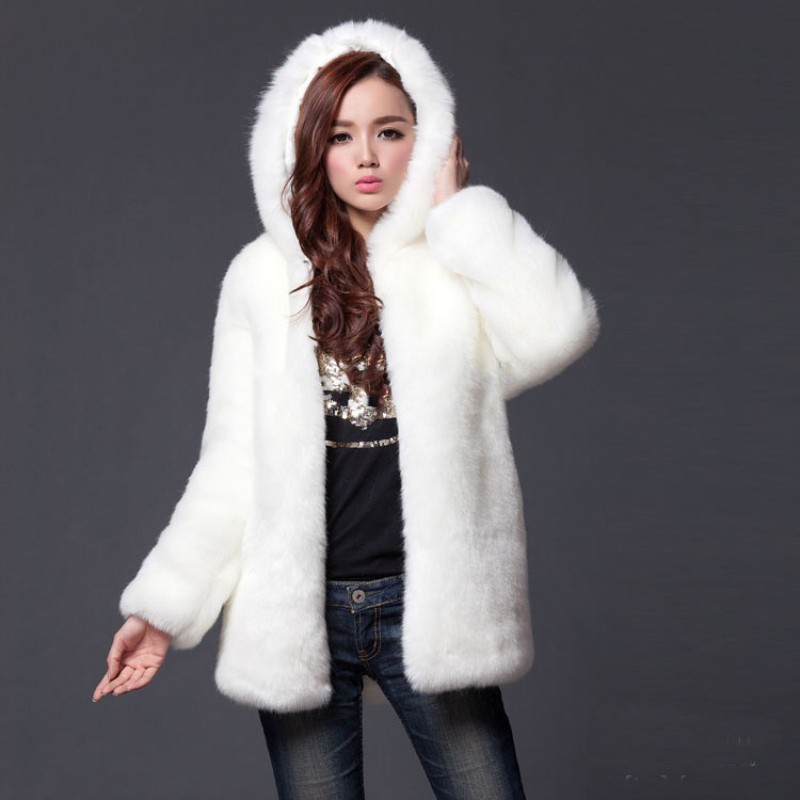 Warm Winter Thick Fur Women Faux Fur Coat Medium-long Hooded Rabbit Fur Coats Jackets Plus Size M-3XL White Black 2755