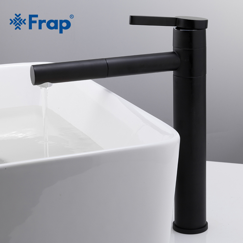 Frap New Arrival High black Spray Painting Basin Taps Bathroom faucet Crane Torneira with Aerator 360 Free Rotating Y10121Frap New Arrival High black Spray Painting Basin Taps Bathroom faucet Crane Torneira with Aerator 360 Free Rotating Y10121