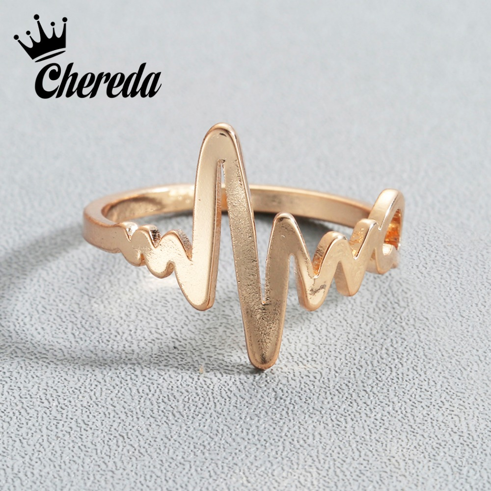Back To Search Resultsjewelry & Accessories Humble Chereda Copper Heart Beat Rings For Women Lover Electrocardiogram Ring Wave Vintage Punk Ecg Jewelry To Be Distributed All Over The World