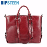 HIPSTEEN Leather Women Travel Bags Large Capacity Carry On Luggage Portable Waterproof Women Travel HandBag Bag