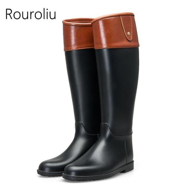 Rouroliu Delle Donne di Modo di Colori Misti Tacco Piatto Stivali Da  Pioggia alti Fino Al 6cd5753a76c