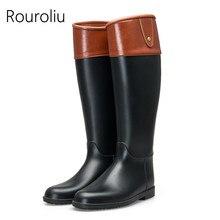 Hot New Women Fashion Mixed Colors Flat Heels Rain Boots Knee-high Non-slip Rainboots Woman Waterproof Water Shoes #TR217 стоимость