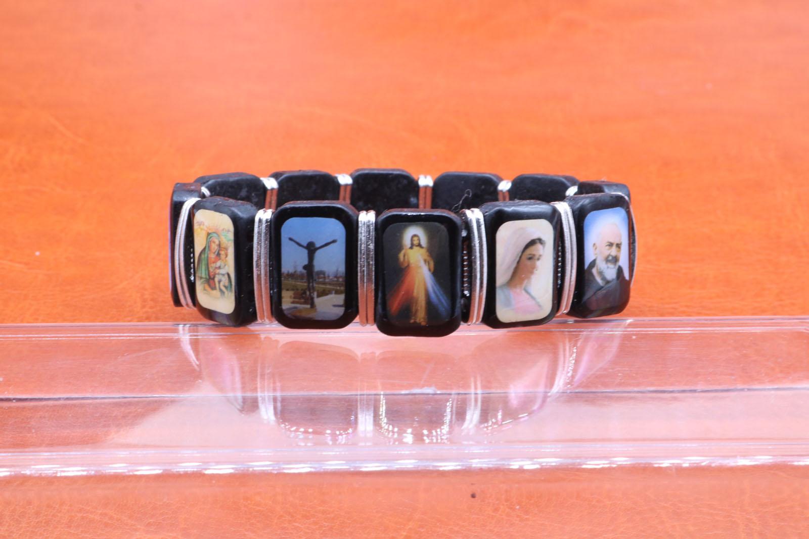 Fashionable wooden Jesus Christ bracelet, rectangular wooden saint ...