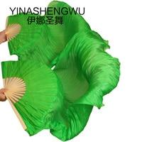 New Arrivals Stage Performance Dance Fans 100% Silk Veils Colored Women Belly Dance Fan Veils (2pcs) green Color