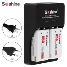2 pcs/ensemble Soshine 9 V 6F22 650 mAh Li-ion Rechargeable Batterie + 9 V Chargeur Intelligent avec LED Indicateur