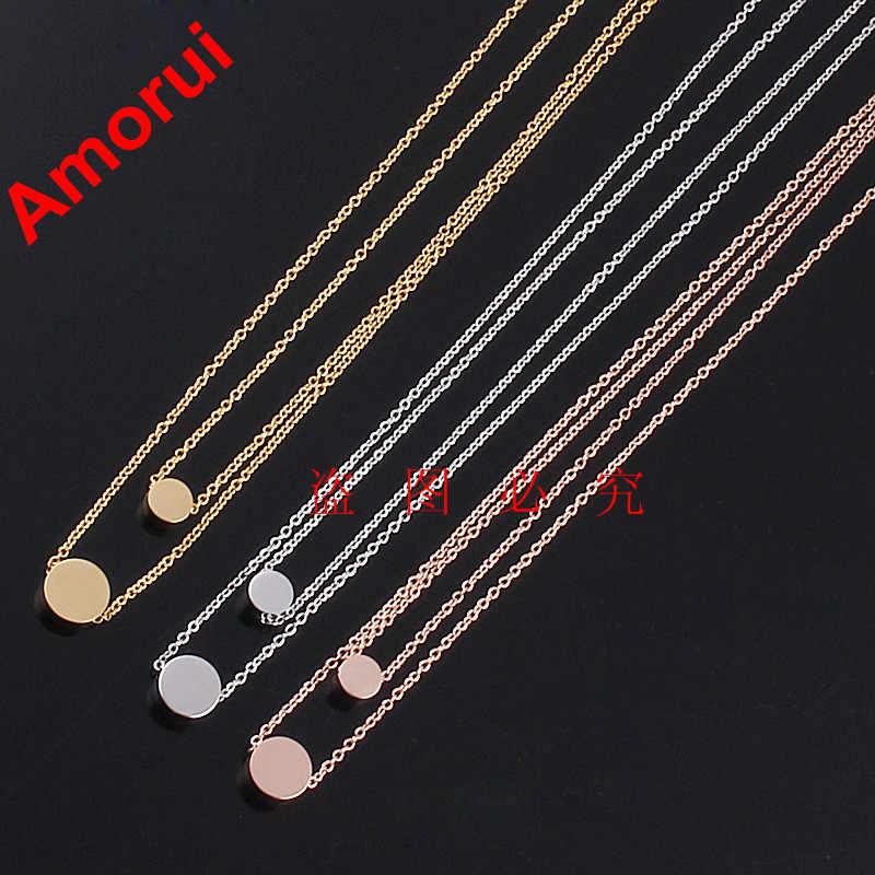 Kobiet różowe złoto/złoto/srebrny koło z fasoli piłka podwójny łańcuch komunikat Choker naszyjnik biżuteria Collares płyty naszyjniki