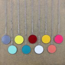 Monogram Necklace Enamel Disc Blank Pendant Necklace for Women Mongram Black 30mm Enamel Blank Disc Pendant Necklace