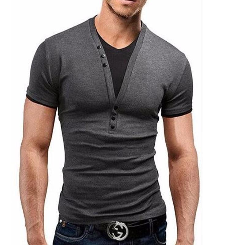 New Fashion Mens 2017 Short Sleeve Brand T Shirt V Neck Men T Shirt Personality Top