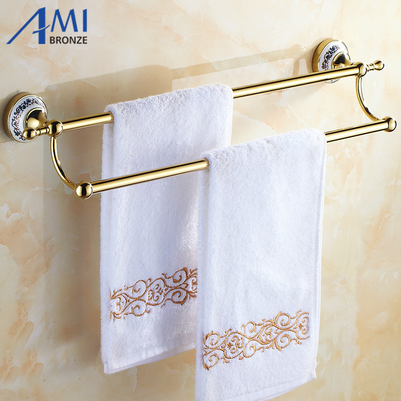 цены 50CM Golden Polish Porcelain Wall Mounted Bathroom Accessories Towel Bar Towel Rack With Hook Double Towel Shelf