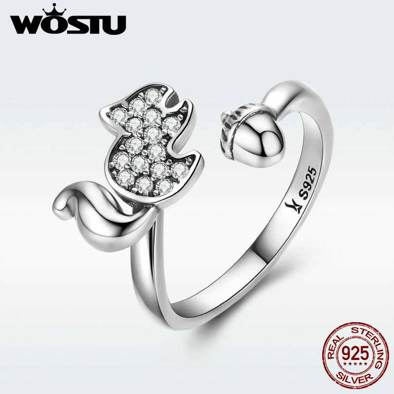 WOSTU High Quality Real 925 Sterling Silver Lovely Squirrel & Pine Cone Finger Ring For Women S925 Fine Jewelry Gift DXR055