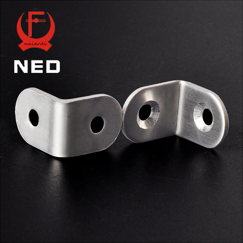 NED 30PCS 20x20mm Practical Stainless Steel Corner Brackets Joint Fastening Right Angle Thickened Brackets For Furniture Home hamlet ned r
