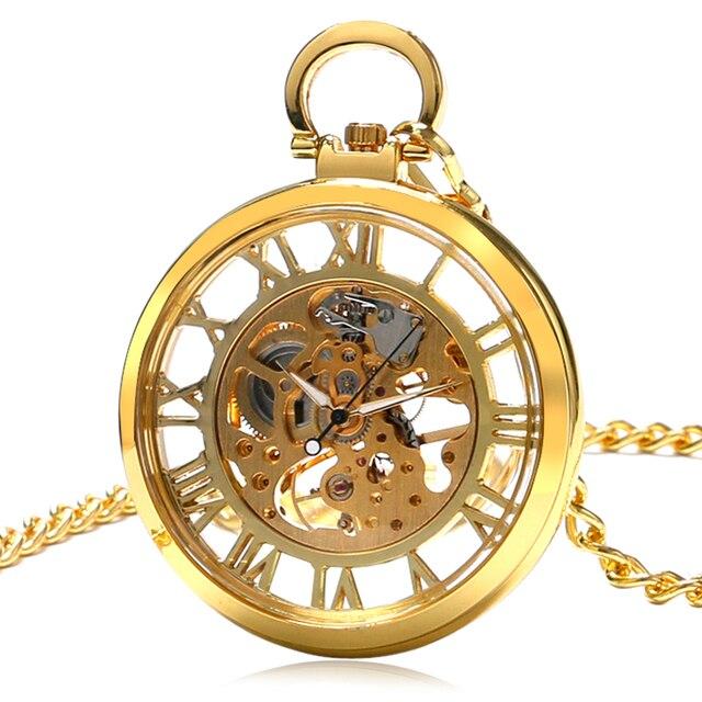 Transparent Skeleton Hand Wind Big Gold Mechanical Pocket Watches Men Women Luxu