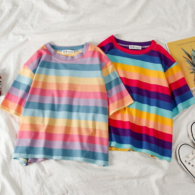 Summer New T Shirt Women Kawaii Rainbow Striped Crop Top Harajuku Tshirt Short Sleeve Korean Punk 90s T-shirts Camiseta Feminina