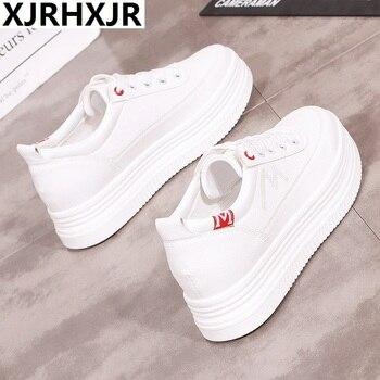 91c2b203 XJRHXJR INS Для женщин Коренастый кроссовки 2019 модные кроссовки Для  женщин белые туфли на платформе на