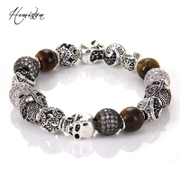 Thomas Style KM Bead Bracelet With Eagle Tiger S Eye OWL Maori Skull Beads Karma Bracelet