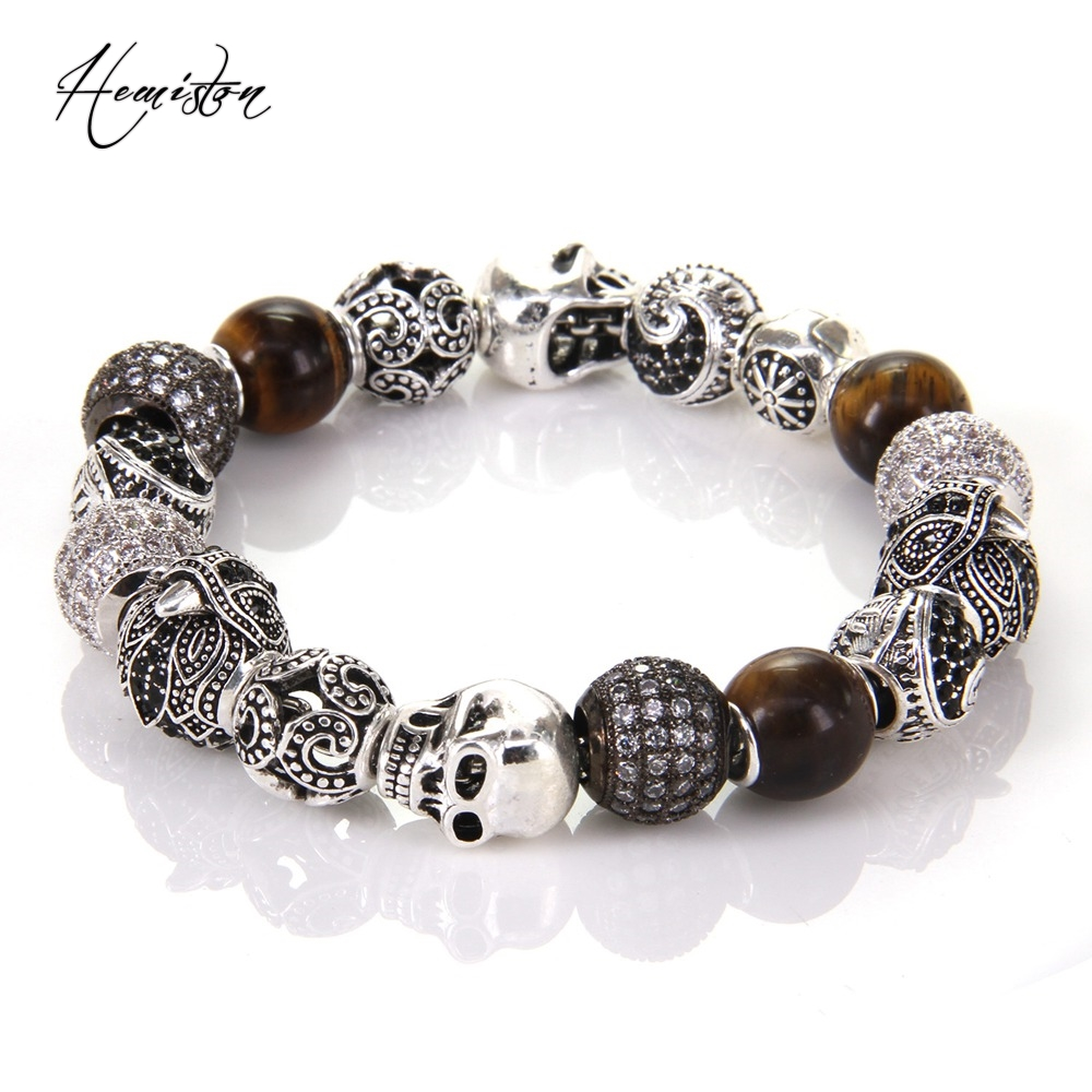 Thomas Style KM Bead Bracelet With Eagle Tiger's Eye OWL Maori Skull Beads, Karma Bracelet Rebel Heart Jewelry For Men TS KB539