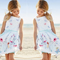 hot girls dress children's clothing white strap dress Students wear fashion pleated dress silk Leisure dress