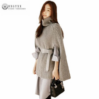 Turtleneck Knitted Cloak Sweaters Women 2017 Autumn Winter Knitted Poncho Elegant Woman Knitwear Tops Solid Color