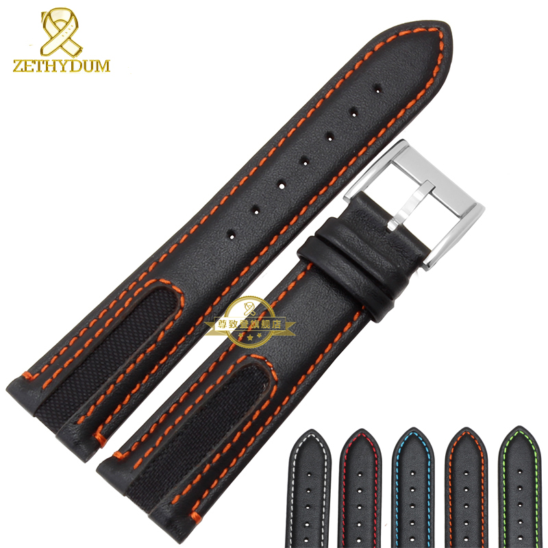 Genuine Leather bracelet watchband Wrist watch strap black with red stitched 21mm mens watch band for NJ2167 NJ2166 accessories 24mm handmade black red stitched genuine calf leather watch strap band for deployment buckle watchband strap for panerai pam