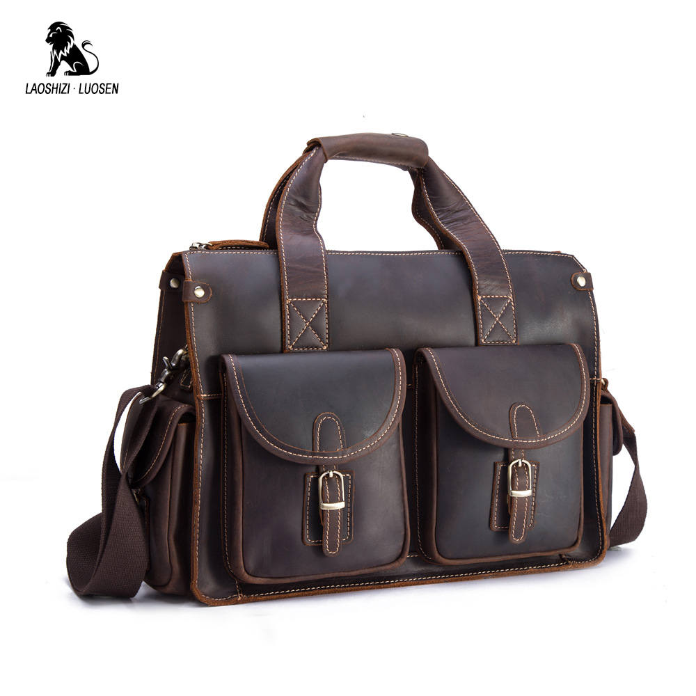 Men's Briefcase Genuine Leather Business Handbag Laptop Vintage Large Office Shoulder Messenger Bags Travel Luxury Bolsas все цены