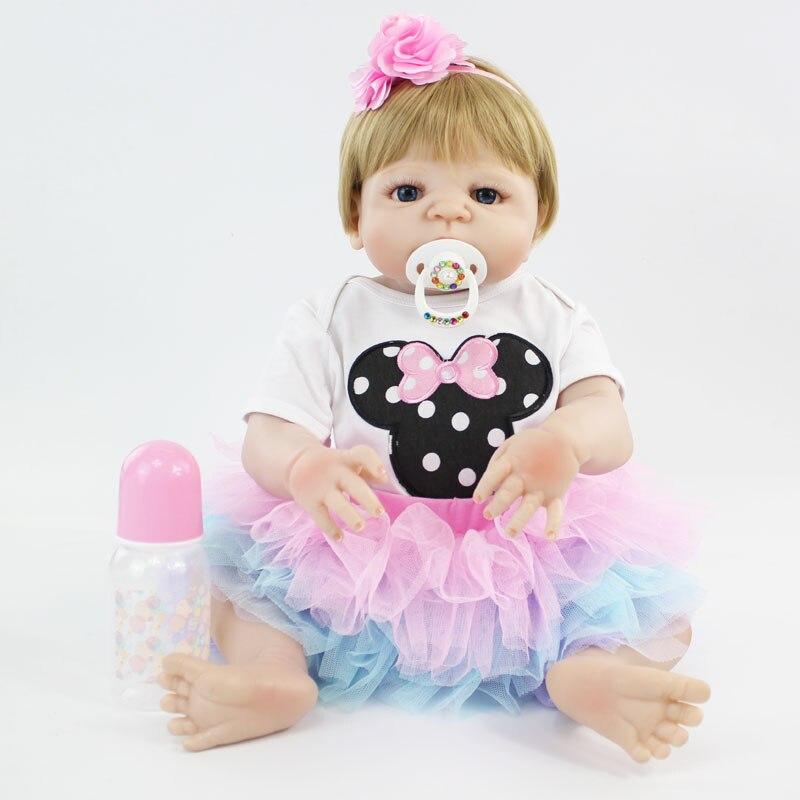 все цены на 55cm Full Silicone Reborn Baby Doll Toy Lifelike 22'' Vinyl Newborn Princess Babies Girl Bonecas Bebe Alive Child Bathe Toy онлайн