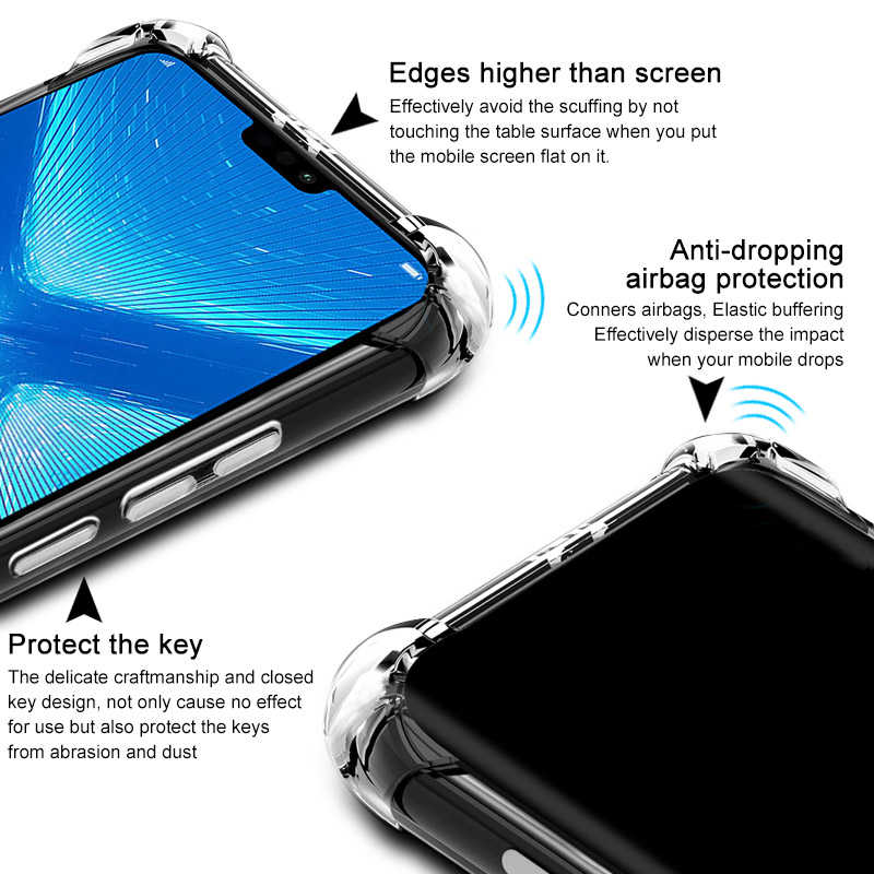 4 Защита углов амортизация Кристалл Мягкий ТПУ чехол huawei P Smart Z Plus Y5 Y6 Y7 P30 P20 Pro Lite Y9 Prime 2019 чехол