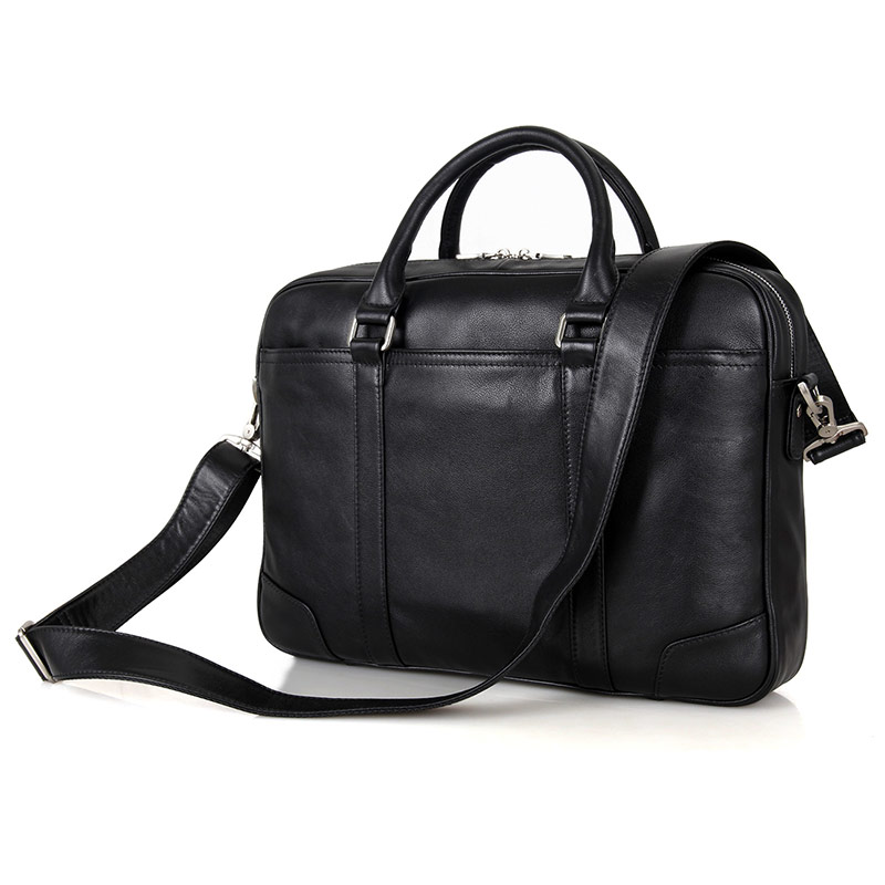High Quality Black Real Leather Office Briefcase Business Handbag Travel Bag Portable Laptop Handbag 7349A