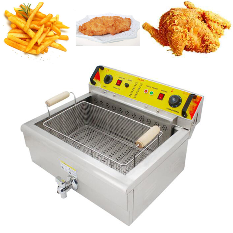 30L Electric Big Deep Fryer Multifunctional Single Tank Chicken Frying Machine Commercial Grill Frying Pan French Fries Fryer Картофель фри