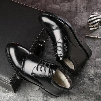 Nuevas botas de invierno de cuero hechas a mano para hombre, botas de nieve cálidas de alta calidad, botas de tobillo para hombres, zapatos de vestir de negocios para hombres 758