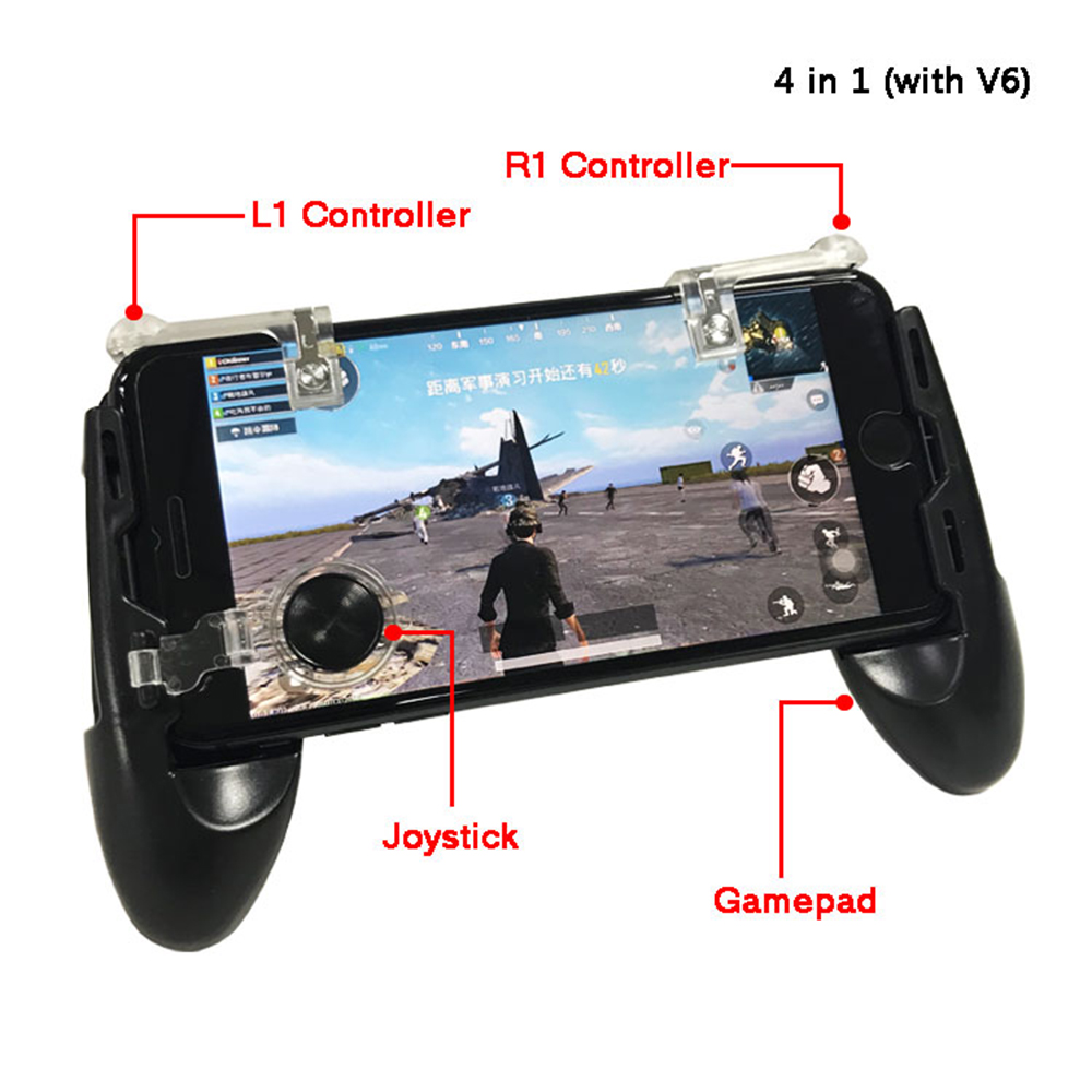 4 in 1 Free Fire PUBG Controller Gamepad Trigger Button Aim Key Buttons Smartphone Games L1 R1 Shooter Gamepads For iPhone ISO стоимость