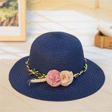 Playa sombrero de paja de Jazz 2019 mujeres sombrilla Panamá Trilby sombrero  Fedora con dos flores de verano de las niñas sombre. 4aaf63b3d79