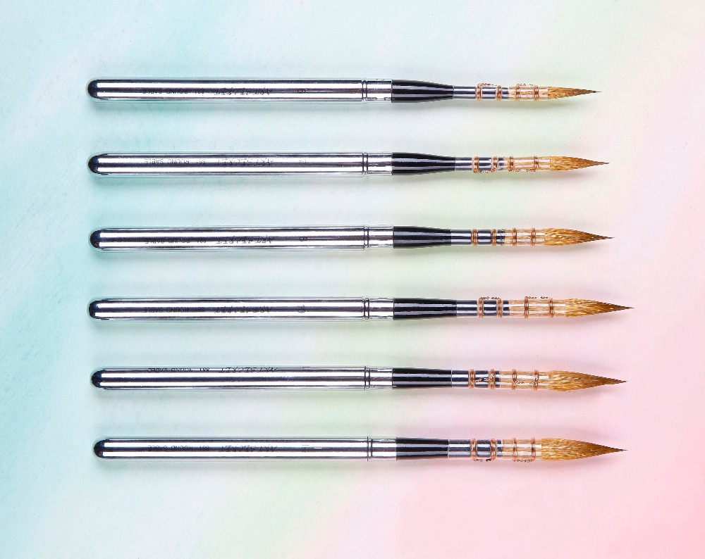 881 High Quality Sable Hair Stainless Cap Wooden Handle Art Paint Painting Brushes Artistic For Watercolor Brush Drawing
