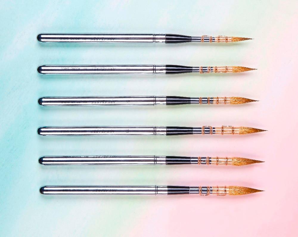 881 высококачественные строительные искусственные кисти для рисования с деревянной ручкой из соболиных волос, художественные кисти для рис...