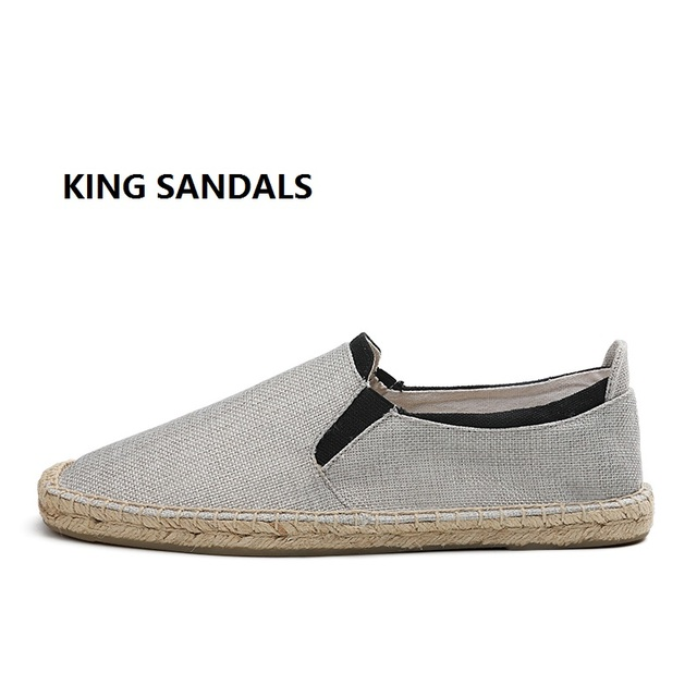 1ab00f332 2018 Men's Track & Field Shoes flat Shoes Breathable Hemp Canvas espadrilles  Slip-on Cotton elastic cord loafers Six Color