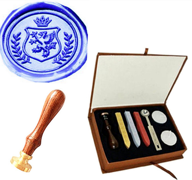 Dragon Wreath Crown Wedding Invitation Wax Seal Sealing Stamp Sticks Spoon Gift Box Set Kit  Vintage Custom Picture Logo big copper spoon big large size stamp spoon vintage wooden handle brass spoon for sealing wax stamp wax stick spoon