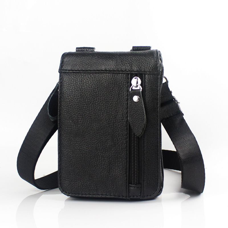 Brand New Mini Genuine Leather Casual Waist Pack Men's Mobile Cell Phone Case Cover Shoulder Messenger Bag Belt Crossing Bags brand genuine leather mini multi function casual bag men s shoulder messenger bag waist belt bag mobile phone pack case cover