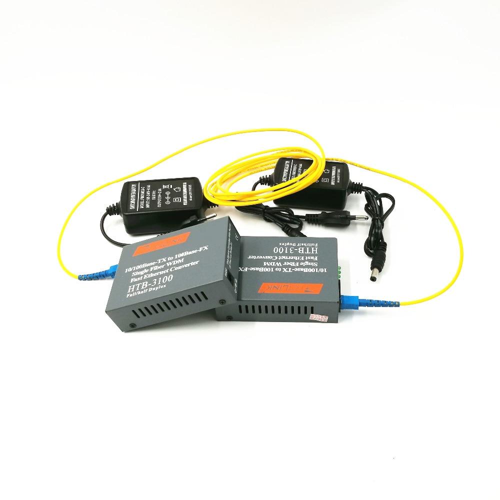 Htb-3100ab Optical Fiber Media Converter Transceiver Single Fiber Single Mode 25km SC 10/100M  With 3 Meter SC-SC Fiber Jumper