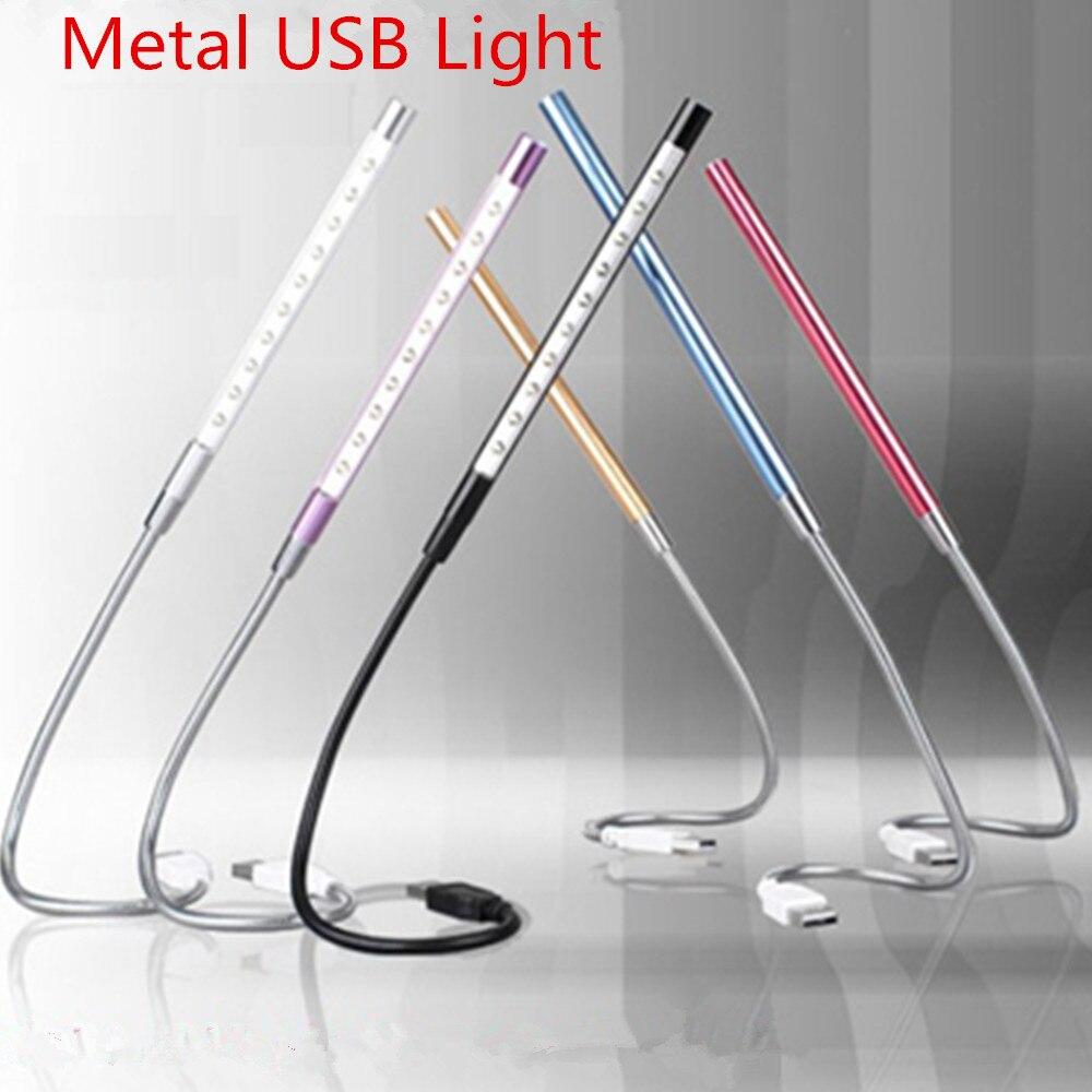 супер яркий мини 10 светодиодов USB свет гибкие металлические светодиодная лампа книга лампы для чтения для тетрадь портативных пк компьютер 6 цветов