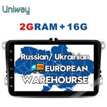 Uniway 2G + 16G 2 din android de dvd del coche para vw polo passat b5 b6 mk4 golf 4 5 tiguan skoda Superb octavia fabia rápido gps de radio del coche