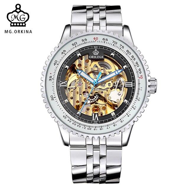 Orkina reloj esqueleto transparente relojes para hombre marca de lujo mecánica  hombres grandes Cara bea6236b1bc4