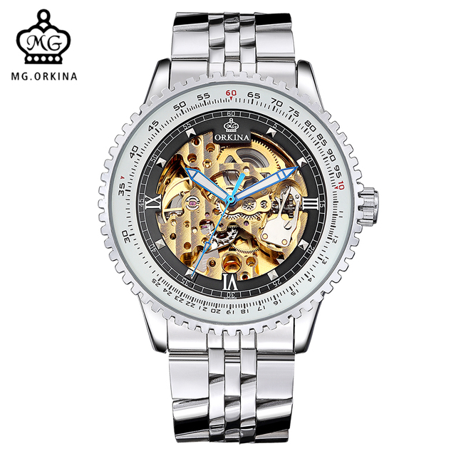 78efcfde18f Relógios de Luxo Mens Marca ORKINA Relógio Esqueleto Transparente Mecânica  Homens Relógio Grande Cara