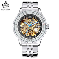 MG. ORKINA Skeleton Watch Transparent Watches Mens Luxury Brand Mechanical Men Big Face Watch Steampunk Wristwatches