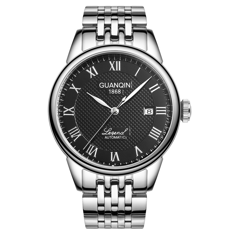 GUANQIN Brand Automatic Watch Men Ultra Thin Steel Band Leather Strap Men Mechanical Watches horloge mannen 2017ailang luxury brand new ultra thin automatic mechanical watches is simple and stylish men watch sapphire watch steel