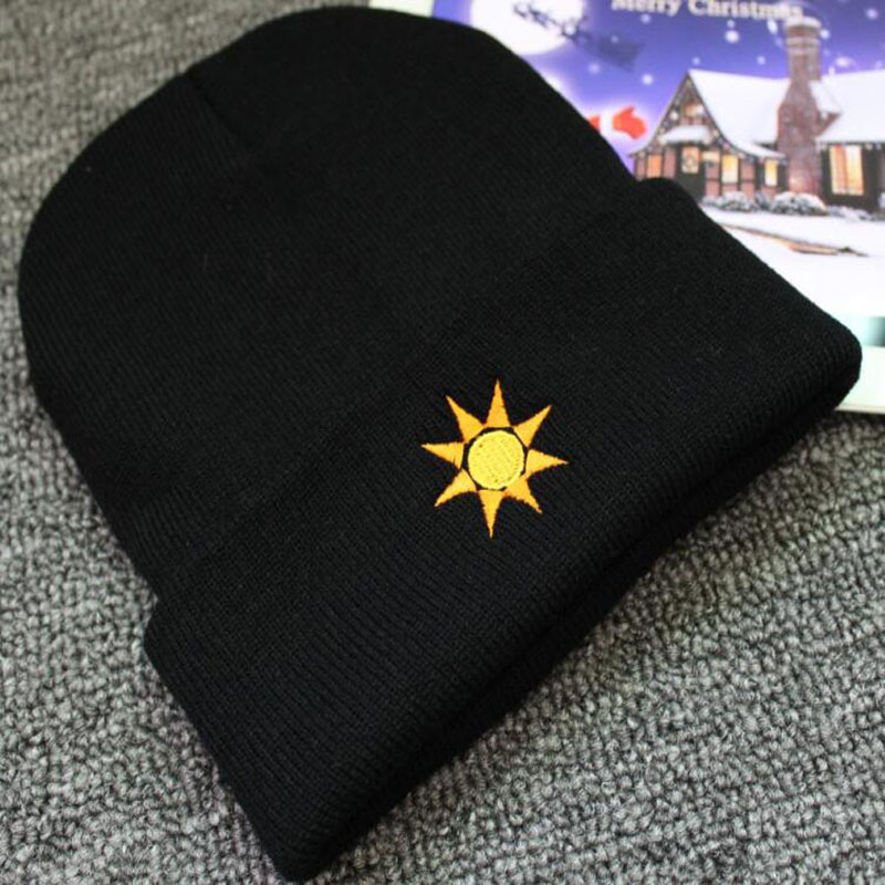 Embroidered Sun Snowflake Pattern Warm Fall Winter Hats Beanie For Men And Women Knit Bonnet Black Skull Cap