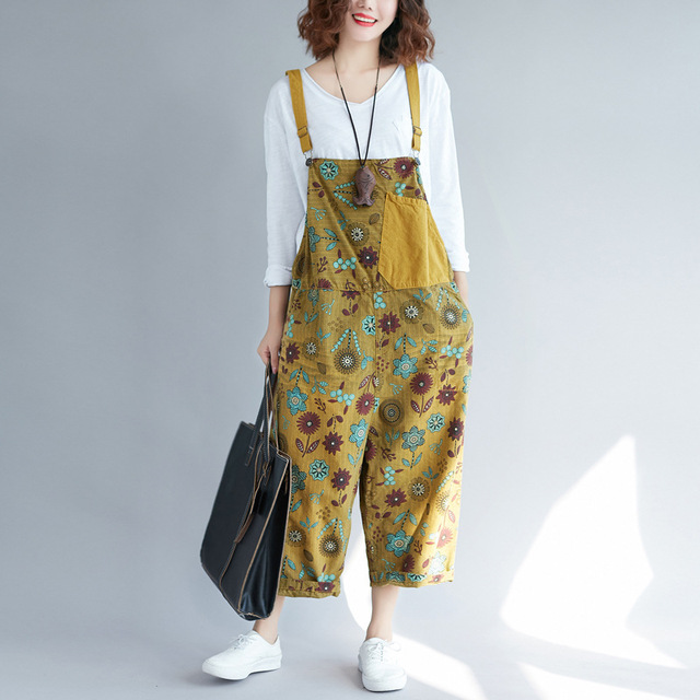 4092633be57 Jumpsuits   Rompers Women s Clothing New worn jeans washed mosaic female  large size hanging print Japanese