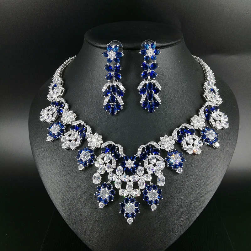 2018 new fashion luxury elegant popuplar blue flower zircon necklace earring set,wedding bride dinner party formal jewelry