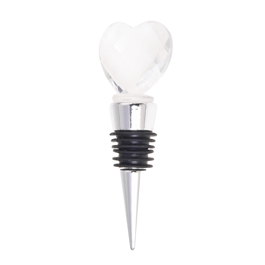 Chrome Bottle Stopper with Crystal Heart Wedding Favors, 1-in Wine ...