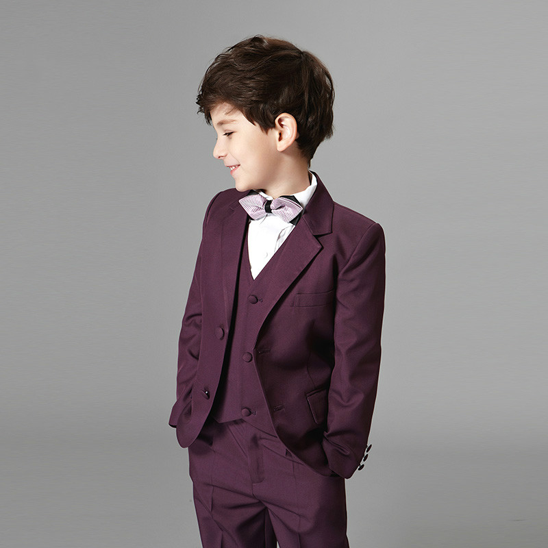 3 Colors Children Boy's Formal Suit Set 4 pcs Coat Pants Vest Tie for Wedding Birthday Party Gentleman Boy Suits winter children boys formal sets 5 pcs woolen blend coat pants vest shirt tie costume wedding birthday party gentleman boy suit